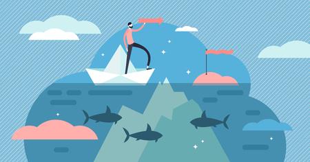 Ilustración de vector de rocas submarinas. Concepto de personas de peligro de riesgo diminuto plano. Naturaleza del océano de profundidad abstracta con piedra y vida silvestre como problema oculto, símbolo de falla o crisis y expresión de fraseología. Ilustración de vector