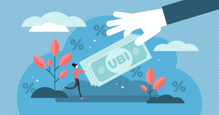 Universal basic income vector illustration. Flat tiny money receiving person concept. Economical governmental income guarantee to resident citizens equality. Social support system to reduce poverty. Иллюстрация