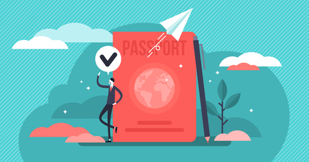 Citizenship vector illustration. Flat tiny country passport persons concept. Legal document to travel. National identification card to foreign border. Emigration control and government security visa.