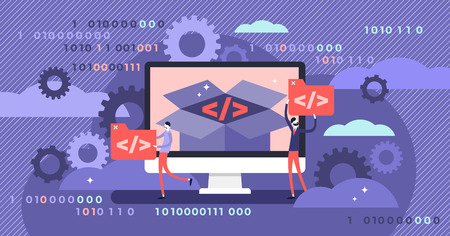 Open source vector illustration. Flat tiny programming language persons concept. Developer protocol platform interface with code information. Digital software script, text, signs and computer data.