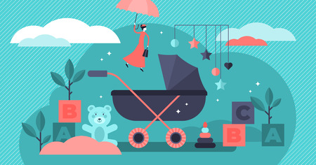 Babysitter vector illustration. Flat tiny children nursery persons concept. Newborn toddler care and nanny occupation. Educational profession work with infant toys, carriage and watching baby security Illustration