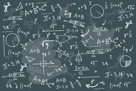 Ilustración de vector de pizarra de matemáticas. Pizarra de ecuaciones de resolución de física. Boceto con solución de problema de clase geométrica o fórmula de álgebra. Inteligencia matemática superior o desorden de cálculos complejos
