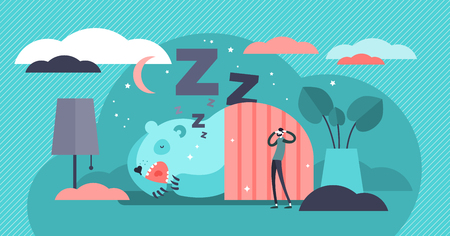 Snoring vector illustration. Flat tiny loud sleeping noise persons concept. Nasal respiratory problem and relaxation disorder. Abstract disturbing and annoying wheezing. Funny asleep somnology patient Illustration