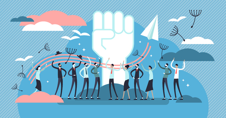 Freedom vector illustration. Flat tiny independence crowd person concept. Abstract fist, birds wings and dandelion fluff as carefree power symbol. Happy free liberty and democracy emotions crowd event