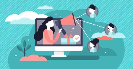Verwijzing vectorillustratie. Platte kleine producten promotie personen concept. Nieuwe klanten mond-tot-mondbetrokkenheidsmethode. Marketingcommunicatiedienst voor consumentenpubliek voor influencer-advertenties. Vector Illustratie