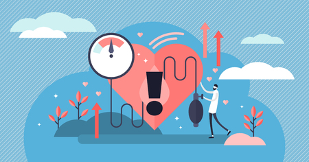 High blood pressure vector illustration. Flat tiny heart disease persons concept. Medical examination and cardiology doctor checkup. Patient health risk with hypertension pulse measurement diagnosis.