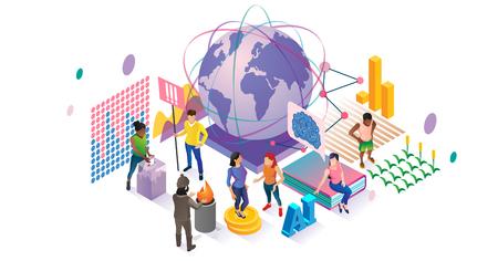 Illustration vectorielle sociale. Concept de collection communautaire de personnes isométriques. Diverses visualisations de groupes de mondialisation, de vote, de bénévolat et d'éducation. Connexion de foule de diversité de population mondiale. Vecteurs