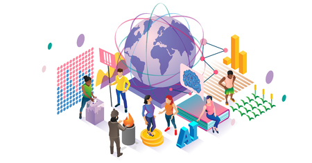 Social vector illustration. Isometric people community collection concept. Various globalization, voting, volunteering and education groups visualization. World population diversity crowd connection. Vector Illustration