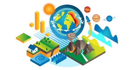 Geo isometric set vector illustration. Geology and geography elements collection. Various earth soil and ocean water scientific knowledge. Ecosystem exploration study and planet environment monitoring