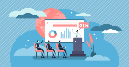 Conference vector illustration. Flat tiny presentation meeting persons concept. Office seminar and professional group teamwork to speech strategy and finance. Abstract employee audience discussion. Illustration