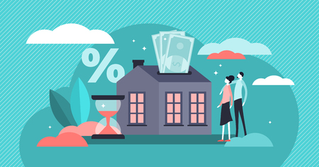 Mortgage vector illustration. Flat tiny house purchase debt persons concept. Buy real estate and pay credit to bank. Abstract ownership agreement visualization. Property money investment contract.