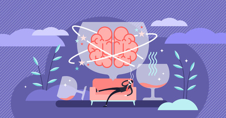 Hangover vector illustration. Flat tiny alcohol overdose drinking persons concept. Drunkard brain, day after booze and liquor party. Headaches, nausea, dizziness and spirit beverage addiction problems