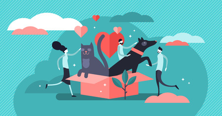 Animal shelter vector illustration. Flat tiny pets adoption community persons concept. Cats and dogs outdoors house. Abstract owners friendship and mammal safety help. Wildlife protection and rescue. Illustration