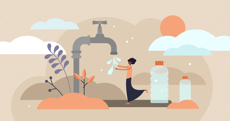 Drinking water vector illustration. Flat tiny Africa potable problem person concept. Lack of running safe and healthy mineral liquid in hot dry dessert. Essential need for fresh, clean and clear H2O. Illustration