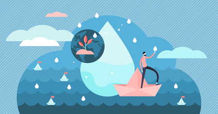 Clean water vector illustration. Flat tiny natural and pure drinking liquid persons concept. Abstract fresh rain showers and healthy ecological earth ocean. Clear aqua splash and environmental process Illustration