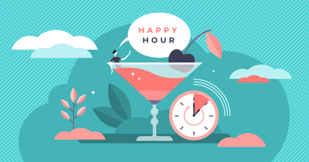 Happy hour vector illustration. Flat tiny cheap alcohol time persons concept. Get second drink for free promotion in bars and pubs. Refreshment beverage special discount. Fun booze advertisement shots Illustration