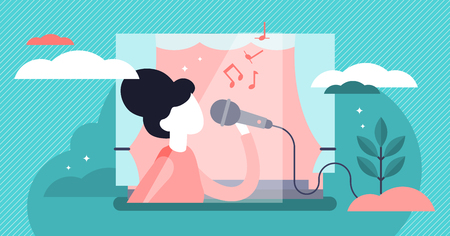 Singing vector illustration. Flat tiny musical performance persons concept. Abstract sound singer hobby with vocal media entertainment show. Leisure stage karaoke lifestyle with microphone and notes.