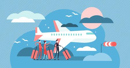 Ilustración de vector de aerolínea. Concepto de personas de transporte de cielo pequeño plano. Salida del viaje en avión al destino de vacaciones internacionales. Ocupación de aviador, tripulación de cabina, piloto y auxiliar de vuelo. Ilustración de vector