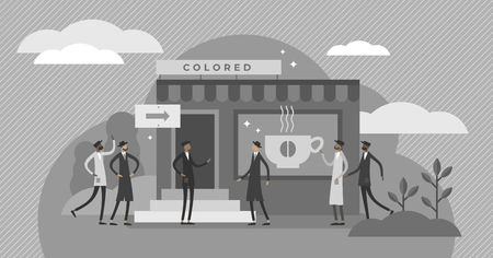 Racial segregation vector illustration. BW flat tiny skin color diversity persons rejection concept. Systemic people separation into ethnic groups. Discrimination, prejudice and stereotype problem.