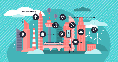 Smart city vector illustration. Flat tiny urban city data collection persons concept. Mobile wireless communication with town water, transport and energy infrastructure. Futuristic sensors innovation. Illustration