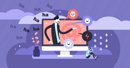 Cyber bullying vector illustration. Flat tiny web violence persons concept. Humiliation, aggressive verbal assault and evil society victim on social media. Abuse comments and dangerous chat trolling.