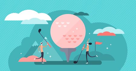 Golf vector illustration. Flat tiny fun lawn ball game hobby person concept. Abstract competition equipment and vintage outdoor activity for recreation and leisure. Athlete team and opponent training. 向量圖像