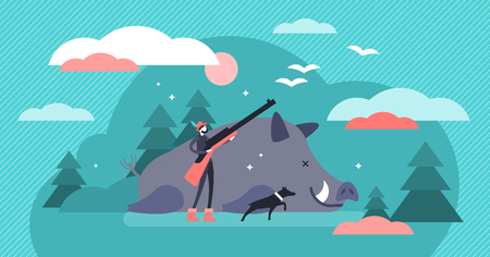 Hunting vector illustration. Flat tiny animal shooting gun persons concept. Wildlife predator killing sport. Dangerous outdoor adventure with pursuit dog and dead wild boar as cruel target trophy.