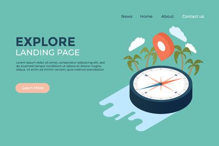 Explore world geography and history concept landing page web design illustrated template with isometric vector compass, palm trees, clouds and GPS map pin symbol. Adventure and wild trip planning.