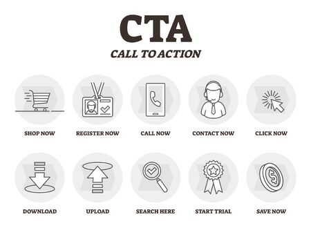 CTA or Call to action vector illustration. Marketing advertising strategy. BW outlined symbolic phrases types. Provoke method to force customer for imperative immediate click, register, shop or call. Ilustração