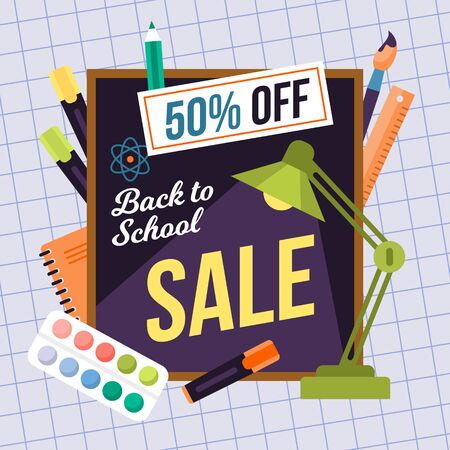 Back to school sale vector illustration. Banner for stationery equipment percentage discounts. Education supplies advertising and marketing flyer for new college semester. Sign with colorful text.