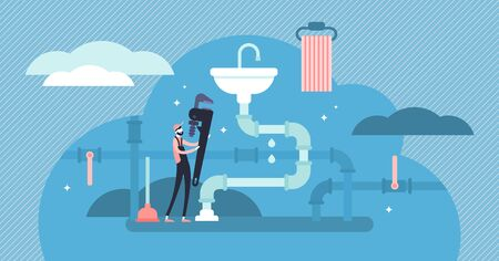 Plumber occupation vector illustration. Flat tiny faucet repair persons concept. Construction service work with water pipeline tube maintenance and leak fix. Abstract house sanitary sink mechanic job.