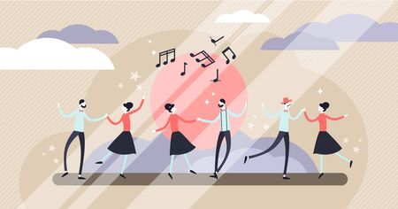Dance vector illustration. Flat tiny motion performing art persons concept. Abstract artistic movement entertainment. Choreography occupation and profession. Social crowd group with active lifestyle.