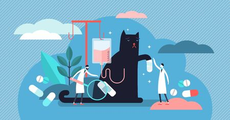 Veterinarian occupation vector illustration. Flat tiny animals health persons concept. Cats and dogs clinic care with treatment medicine and pills. Emergency help support and aid prevention service. Ilustrace