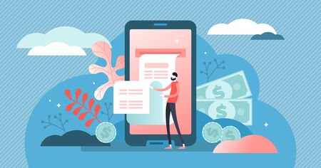Digital bill vector illustration. Flat tiny phone wallet persons concept. Modern electronic financial payment method. Abstract bank transaction service. Secure online shopping mobile device technology Ilustrace