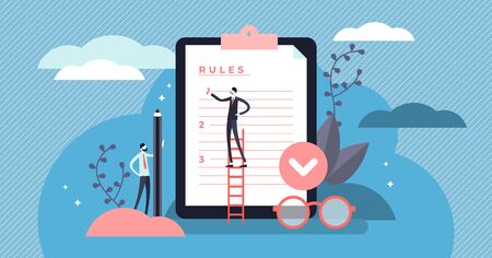 Rules vector illustration. Flat tiny regulations checklist persons concept. Restricted graphic writing with law information. Society control guidelines and strategy for company order and restrictions. Ilustrace