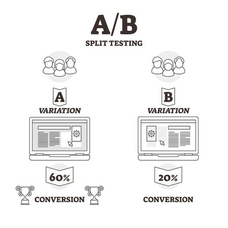AB split testing vector illustration. BW outlined experiment variants graphic. Statistics hypothesis test and samples for user experience. Two versions of single variable to optimize conversion choice Reklamní fotografie - 127386601