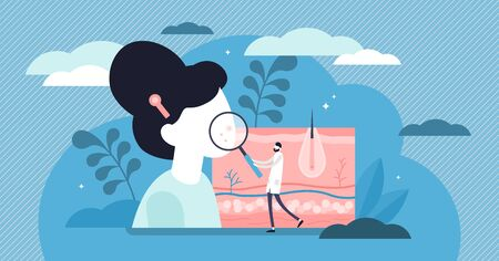 Dermatologist vector illustration. Flat tiny skin doctor persons concept. Abstract epidermis illness, problem, disease diagnostics or treatment. Health medical protection with specialist consultation.