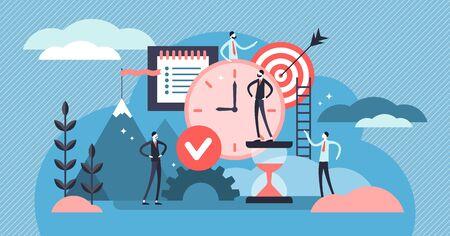 Ilustración de vector de disciplina. Concepto de personas de sistema de autocontrol diminuto plano. Objetivo abstracto y hacer una lista de estilo de vida de éxito simbólico con gestión del tiempo productivo y desarrollo del esfuerzo de la meta.