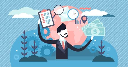 Manager vector illustration. Flat tiny business job project persons concept. Symbolic office worker with finance and work organization tools. Professional occupation and modern employee in deadline. Ilustrace