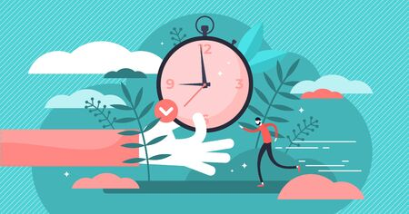 Punctual vector illustration. Flat tiny precision timing persons concept. Perfect schedule and accurate control for lifestyle efficiency. Abstract characteristic visualization with time and clock. Ilustrace