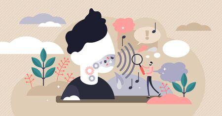Ilustracja wektorowa fonetyki. Koncepcja osoby płaskie małe dźwięki językowe. Abstrakcyjny proces badania gałęzi artykulacyjnej, akustycznej i słuchowej. Nauka charakterystyki gramatycznej języka edukacyjnego