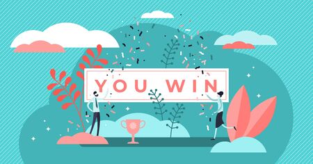 You win title banner vector illustration. Flat tiny prize persons concept. Symbolic winner sign as achievement, victory, lottery or jackpot award. Abstract champion celebration and triumph text poster