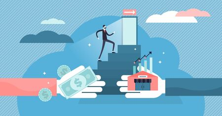 Exit business vector illustration. Flat tiny company sale persons concept. Successful sell decision process to trade ownership to entrepreneur. Buyout management and concern sell contract and deal. Illusztráció