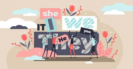 Pronouns vector illustration. Flat tiny substitutes words person concept. Abstract fun it, she, we, they, it word banners. Correct language linguistics and grammar knowledge. Part of word speech study Illustration