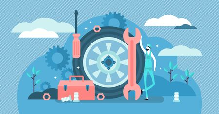 Mechanic vector illustration. Flat tiny tech occupation persons concept. Professional job service for machinery repair, maintenance, fix or production. Garage industrial work with technical car tools.