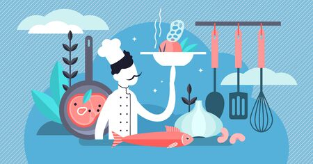 Chef vector illustration. Flat tiny professional cooking occupation persons concept. Work and job in kitchen with dishes, tasty fresh food and healthy culinary. Gourmet cook with restaurant uniform. Ilustrace