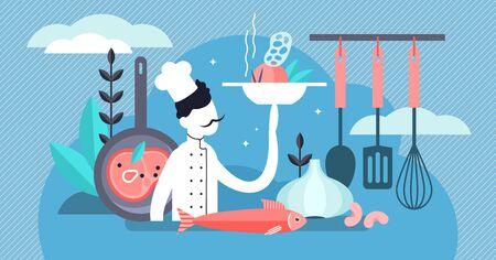 Koch-Vektor-Illustration. Flaches kleines professionelles Kochberufskonzept. Arbeit und Job in der Küche mit Geschirr, leckerem frischem Essen und gesunder Küche. Gourmetkoch mit Restaurantuniform. Vektorgrafik