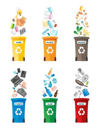 Recycling vector illustration. Labeled isolated waste collection icon set. Container for paper, plastic, organic, electronic, glass and metal rubbish. Renewable, sustainable earth pollution solution.