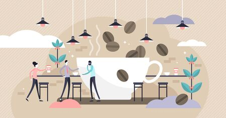 Coffee vector illustration. Flat tiny caffeine drink persons concept. Abstract brown morning cafe bar for espresso, cappuccino and tasty hot chocolate beverages. Business service for hipster lifestyle Ilustração