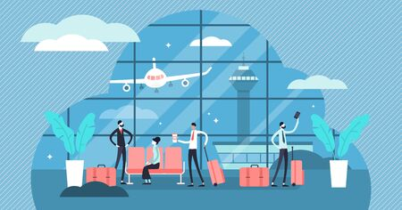Airport vector illustration. Flat aerodrome with air passenger and luggage. Aircraft and control tower for arrival and departure. Waiting for holiday check in and boarding. Commercial airplane service Archivio Fotografico - 131889753
